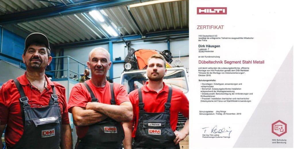bestandene Zertifikation Dübeltechnik